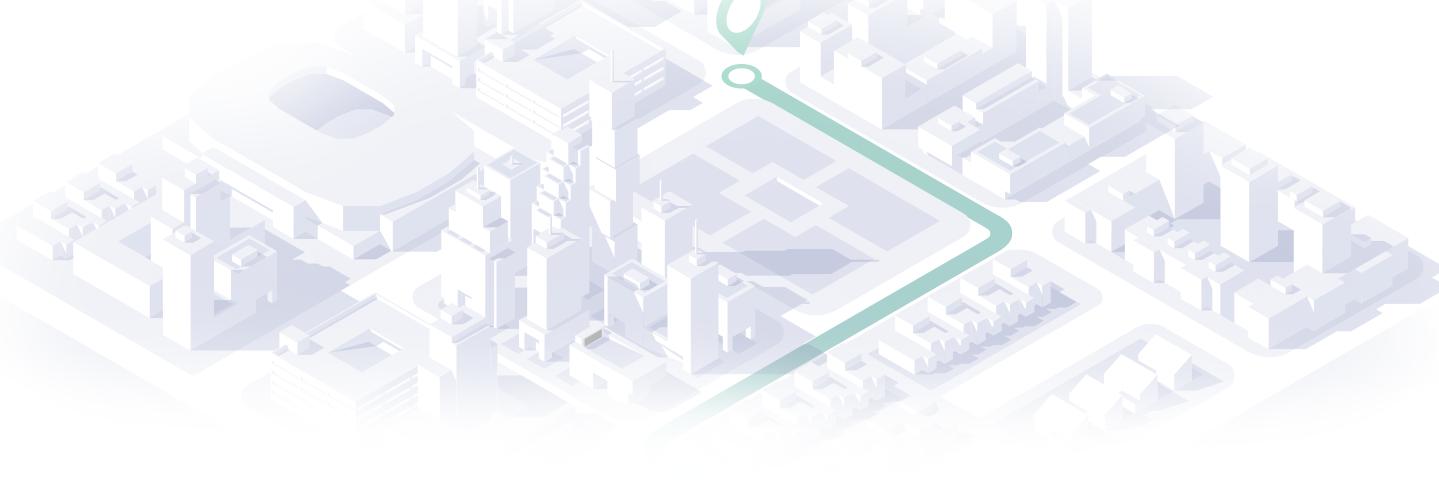 Illustration d'une ville en isométrique avec un itinéraire de localisation de véhicules