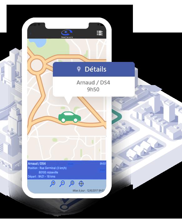 Illustration d'un smartphone avec le logiciel de suivi de flotte GeoCoyote